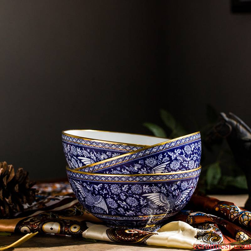 Jingdezhen porcelain bowls of Chinese style household ipads porcelain rice bowls rainbow such as to use the features antique bowl tall bowl bowl of tableware