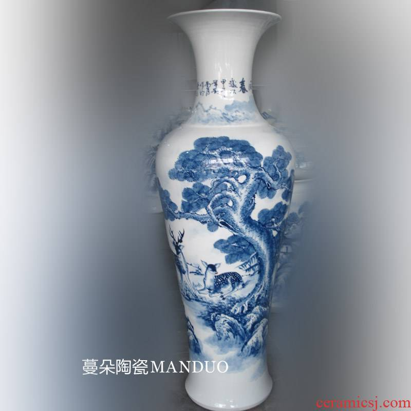 90-100-135 hand - made crane pine needles landing big vase elegant furnishings decorative porcelain vase