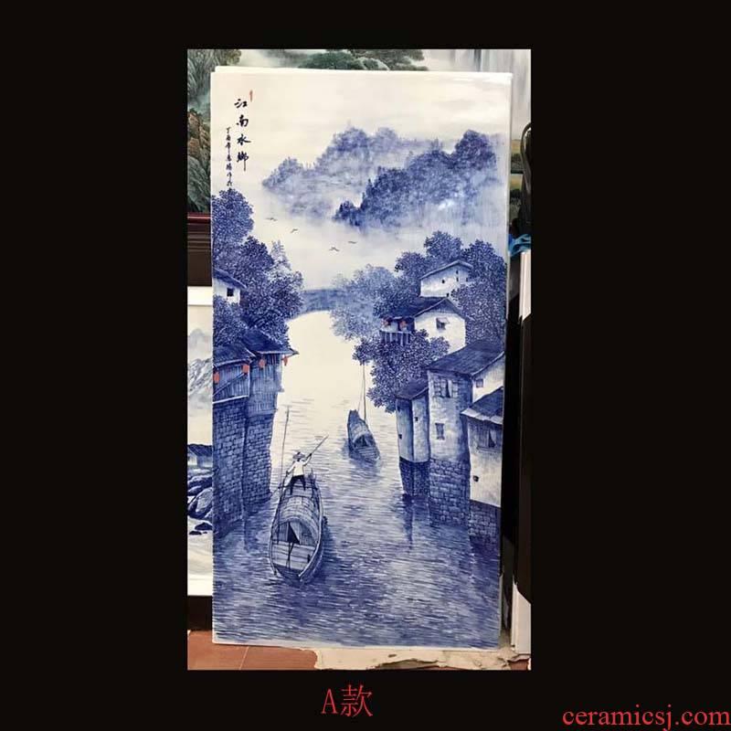 Jingdezhen blue and white landscape single hand - made porcelain plate painting landscape jiangnan water single pair of blue and white porcelain porcelain plate