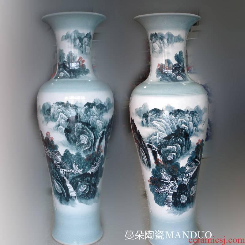 Jingdezhen hand - made quietly elegant color ink landscape vase 1.3 1.5 m high sitting room new vase display large vase