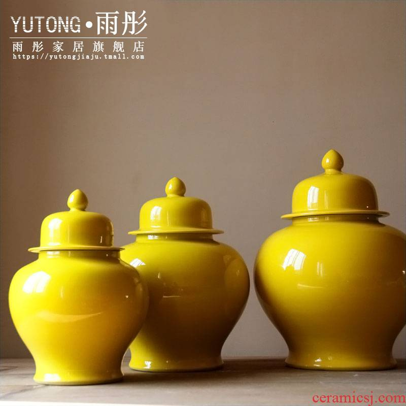 Jingdezhen ceramic checking lemon yellow ceramic tank storage tank furnishing articles to decorate the study model soft outfit business hall