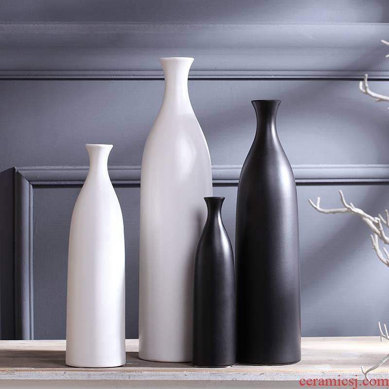 Jingdezhen ceramic black white vase home TV ark, wine handicraft of I sitting room adornment furnishing articles