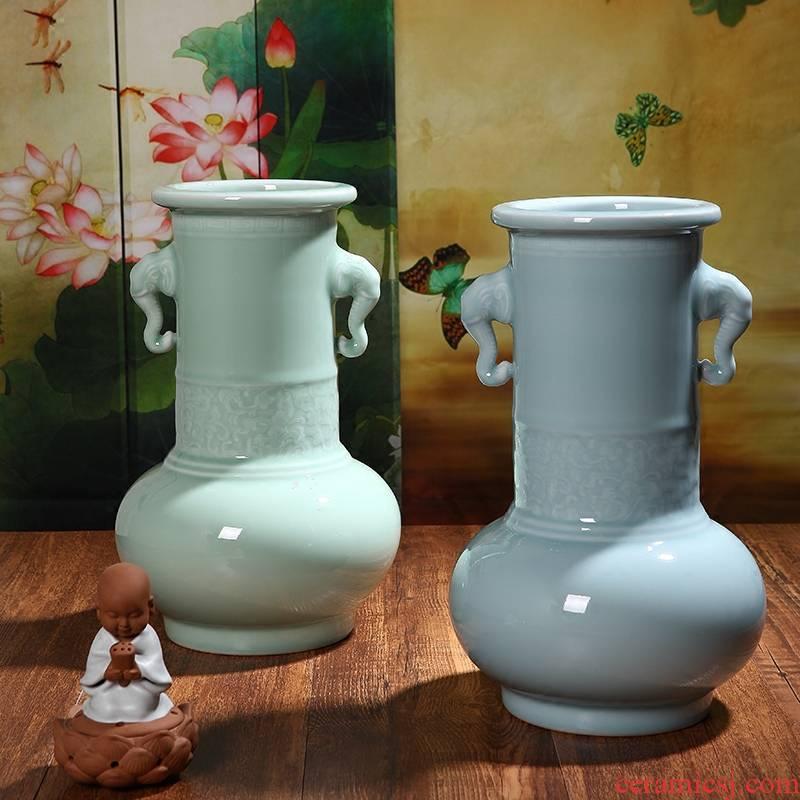 Manual powder green thick celadon ceramics glaze porcelain antique classical vase vases, flower receptacle modern furnishing articles