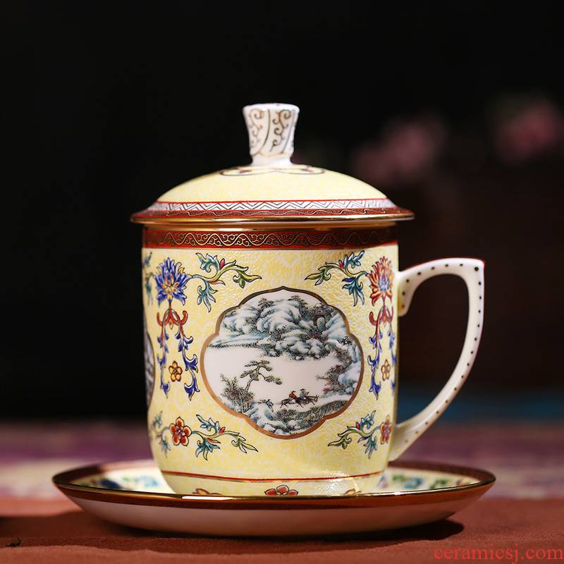 Jingdezhen porcelain paint by hand ipads ceramic tea set office ou English afternoon with cover cups