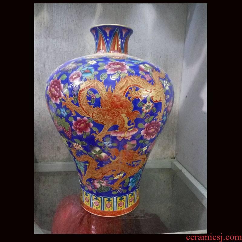 Jingdezhen hand - made five Long Mei colored enamel bottle name plum flower name plum bottle bottle tree display counter