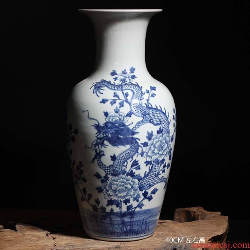 Jingdezhen 50 cm Gao Qinghua dragon vase landing display furnishing articles 30 cm high pastel maid ceramic floret bottle