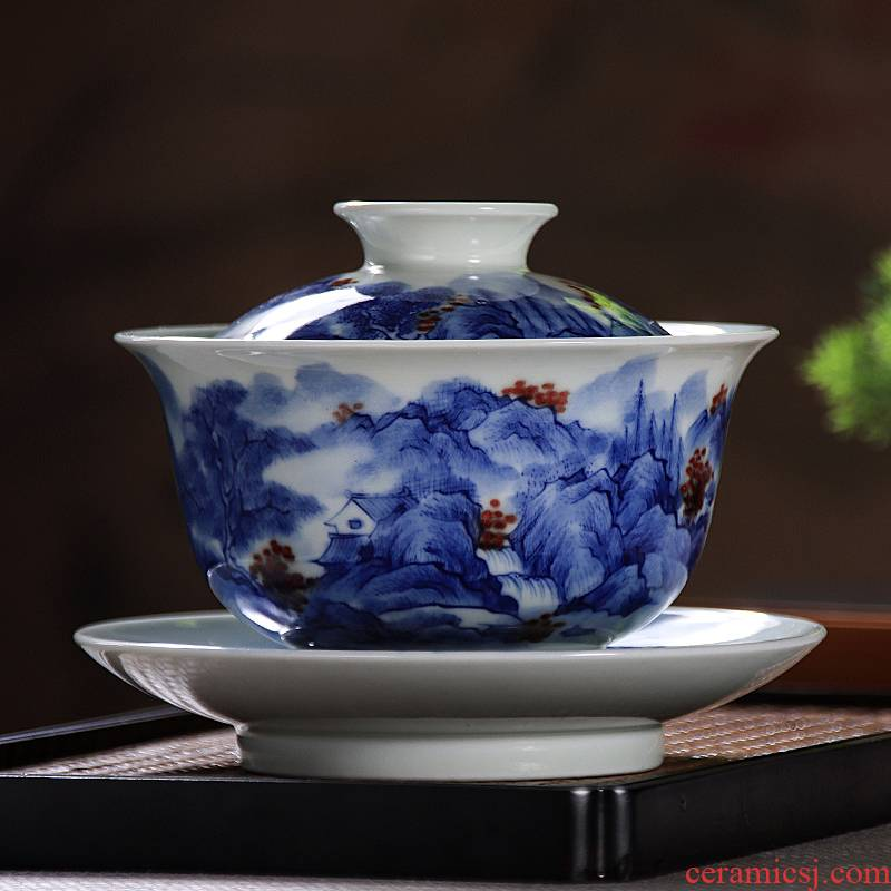 Jingdezhen blue and white youligong tureen tea bowl manual hand - made large landscape three tureen kung fu tea set