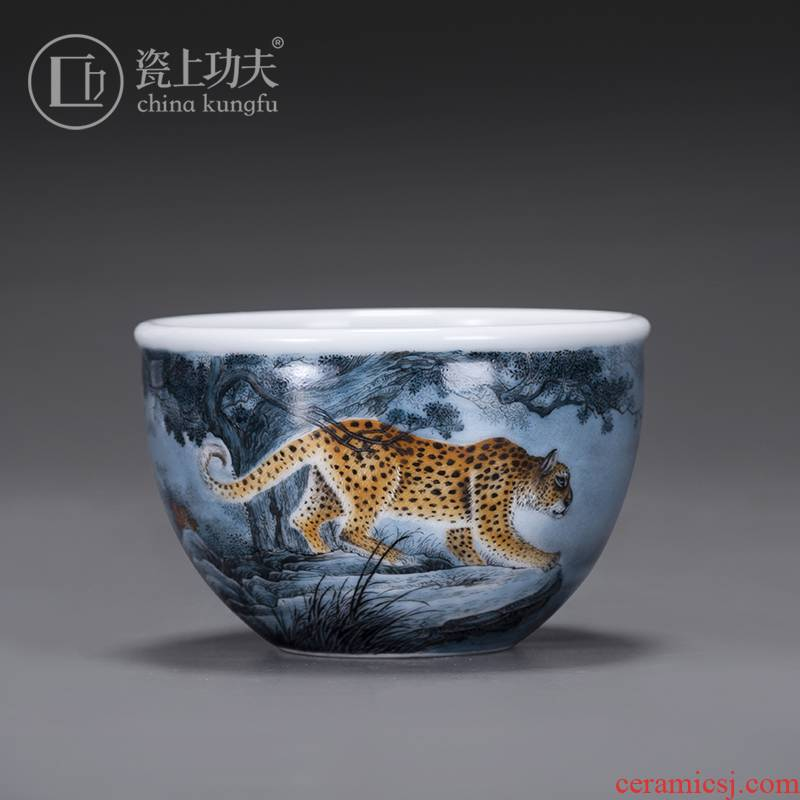 Porcelain jingdezhen ceramic sample tea cup by hand on kung fu master cup single cup men 's high - end large cups of tea