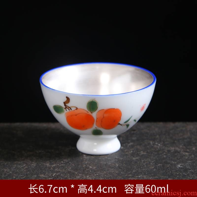 Coppering. As single cup silver hand made blue and white porcelain ceramic cups kung fu masters cup tea set to use the sample tea cup perfectly playable cup