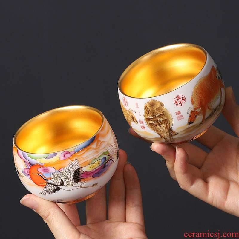 Dehua white porcelain suet jade master CPU high - grade gold cup single CPU personal special cups male lady jinzhan cup