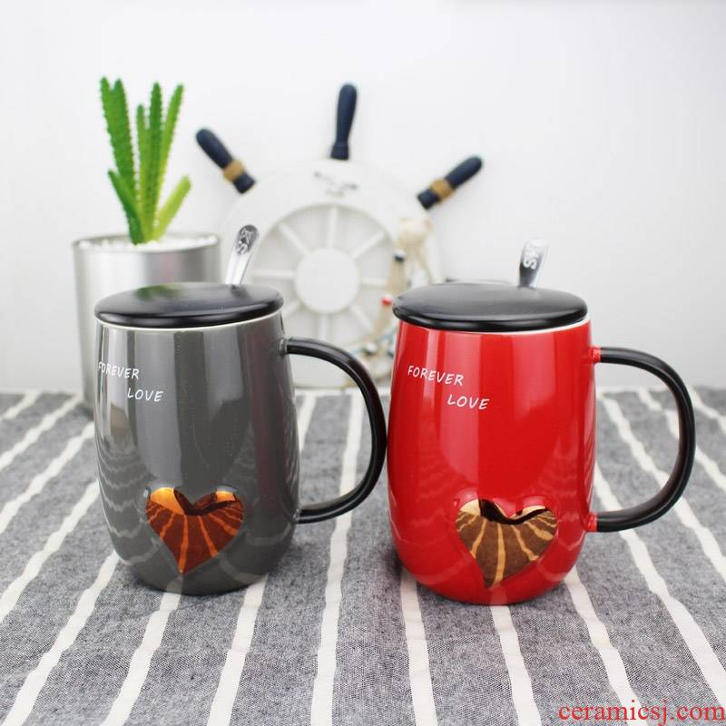 Qiao mu lovers a pair of ceramic cup contracted mugs birthday gift with cover with a spoon to send men and women friends wife
