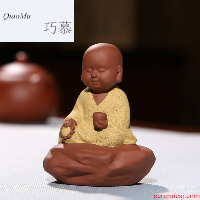 Qiao mu miniature violet arenaceous meditation the young monk tea pet furnishing articles creative home monk tea can keep S06043