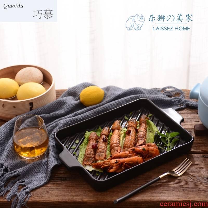 Qiao mu boutique American steak Korean teppanyaki barbecue plate household ceramic plate sand pot roast chicken pan Fried fish