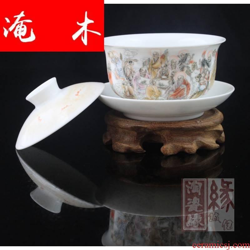 Flooded, rhyme tureen manual hand famille rose porcelain of jingdezhen ceramic tea set three cup bowl tea ware CWJ