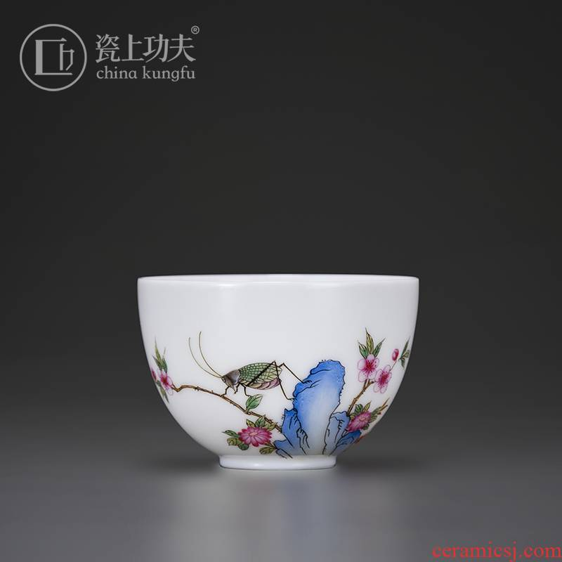 Kung fu tea set on the porcelain ceramic single cup sample tea cup small hand hand draw flowers and birds master cup personal cup