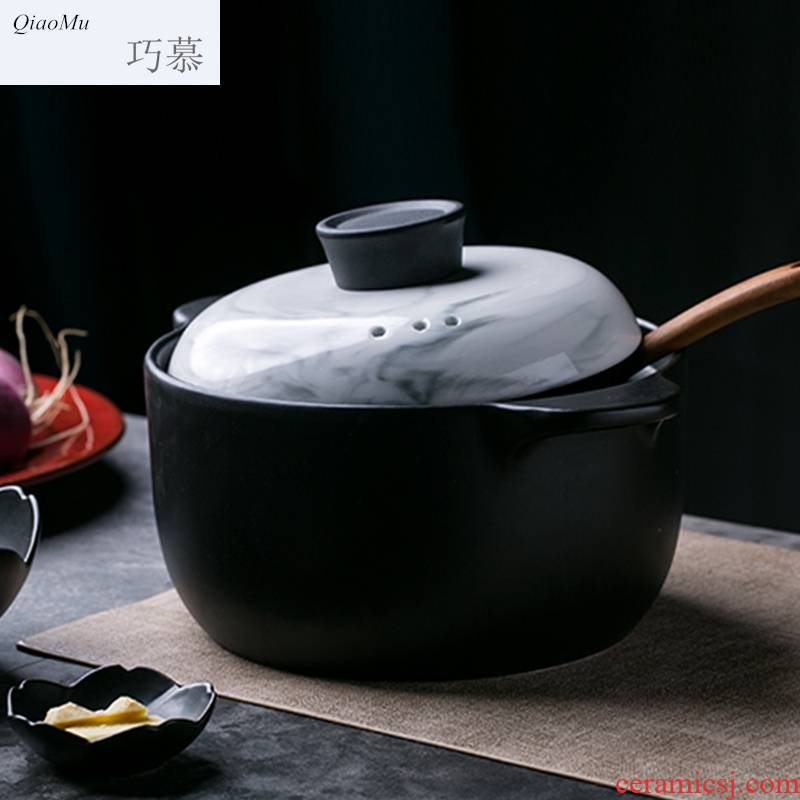 Qiao mu creative ceramic high - temperature casserole marble household stew soup pot 2.5 L ears against the congee hot pot