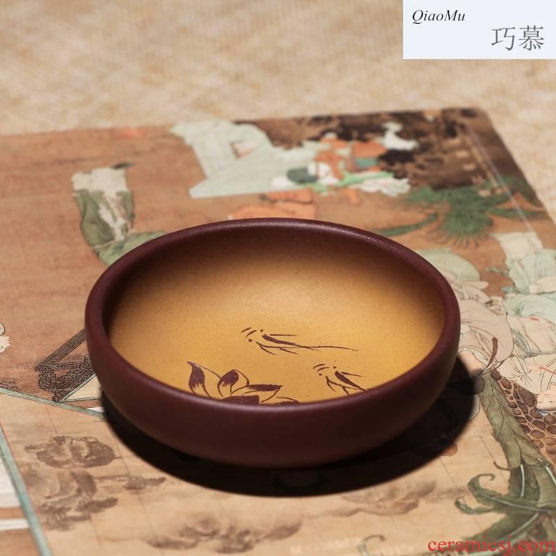 Qiao mu, yixing purple sand sample tea cup pure manual kung fu tea cups, small single master cup bowl individual cup