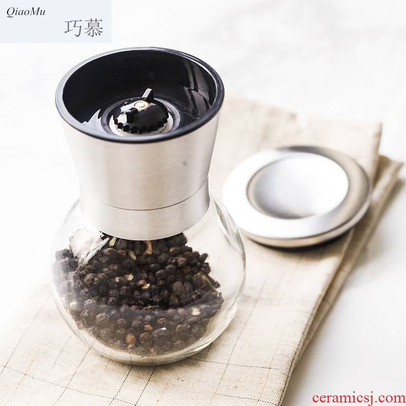 Qiao mu pepper mill, the kitchen stainless steel spice bottles manual rotary mill ceramic core