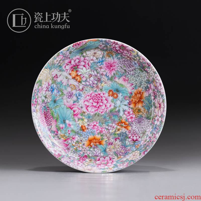 Colored enamel flower pot bearing jingdezhen ceramic hand - made tureen tap tea accessories checking out little tea tray orphan works