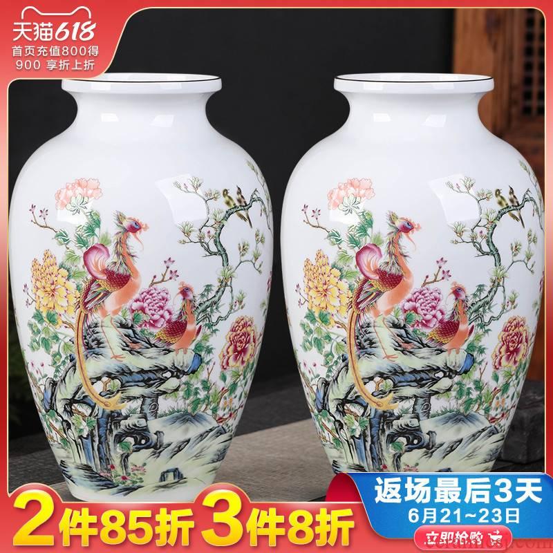 Jingdezhen ceramics vase pastel thin body porcelain flower arrangement craft sitting room of Chinese style household decoration porcelain furnishing articles