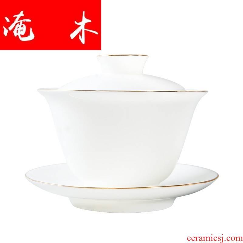Submerged wood craft sweet white only three tureen jingdezhen thin foetus white jade porcelain tea cups to use of Japanese household kunfu tea