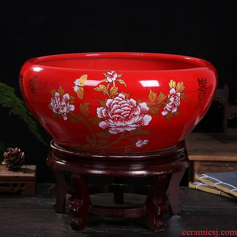 Jingdezhen ceramics sitting room porch aquarium hydroponic flower pot opening gifts decorative furnishing articles new household basin