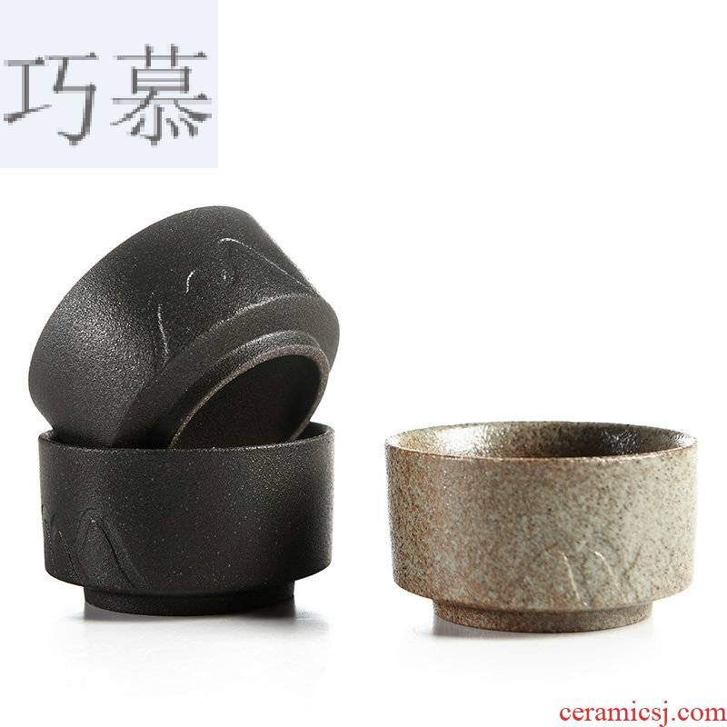 Qiao MuChan black pottery teacup Japanese contracted wind master cup sample tea cup ceramic bowl with single CPU kung fu tea tea