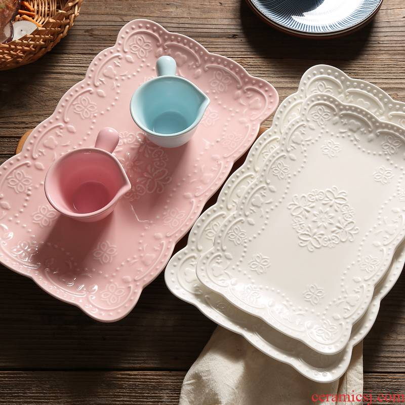 2021 domestic high - temperature anaglyph ceramic rectangle plate butterfly table dish dish afternoon tea fruit bowl dessert