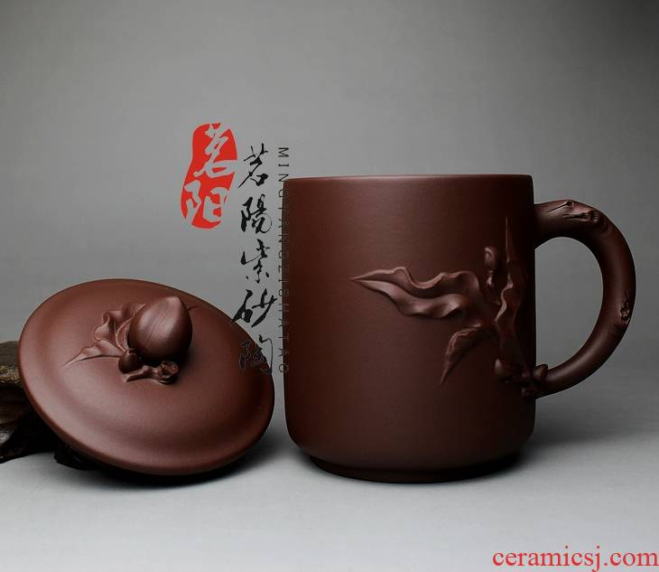 Qiao mu MY yixing purple sand cup all checking men kung fu tea sets large cups with cover glass package