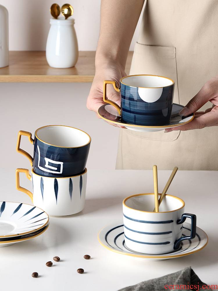 Bincoo coffee cups and saucers Japanese light key-2 luxury hand - made ceramic combination suit move trend keller cup