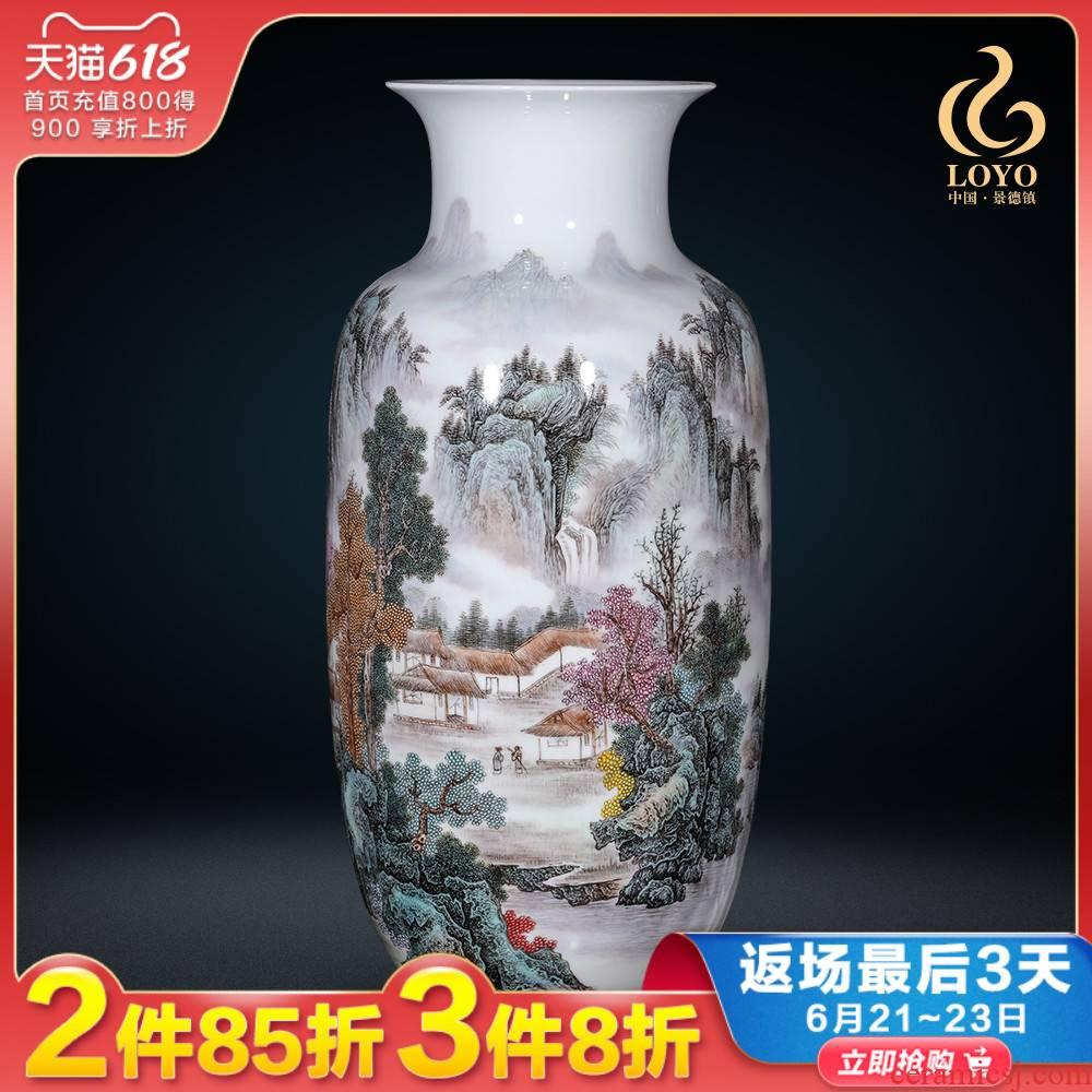 Jingdezhen ceramics vase living room flower arranging furnishing articles hand - made famille rose porcelain Chinese style household ornaments