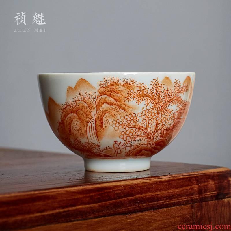 Shot incarnate the hand - made alum red landscape master of jingdezhen ceramic kung fu tea tea cups individual single CPU