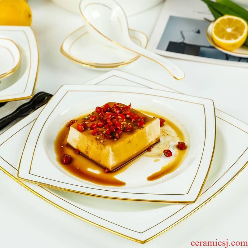 Qiao mu jingdezhen ceramic tableware suit European dishes home eat rice bowl ou bowl dish bowl chopsticks ipads China