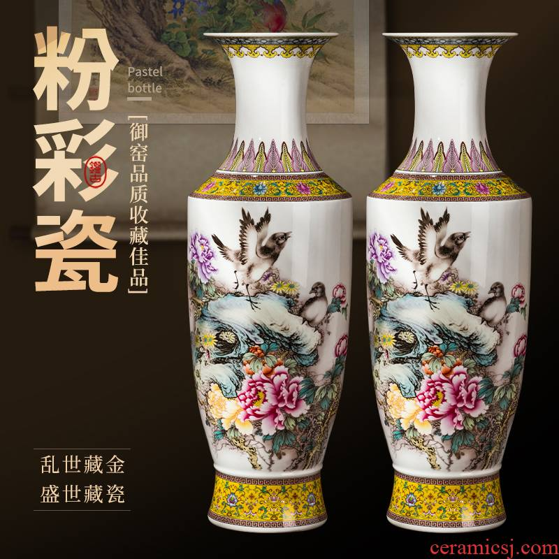 Jingdezhen ceramics powder enamel of large vases, antique Chinese style living room stores the opened ornaments furnishing articles