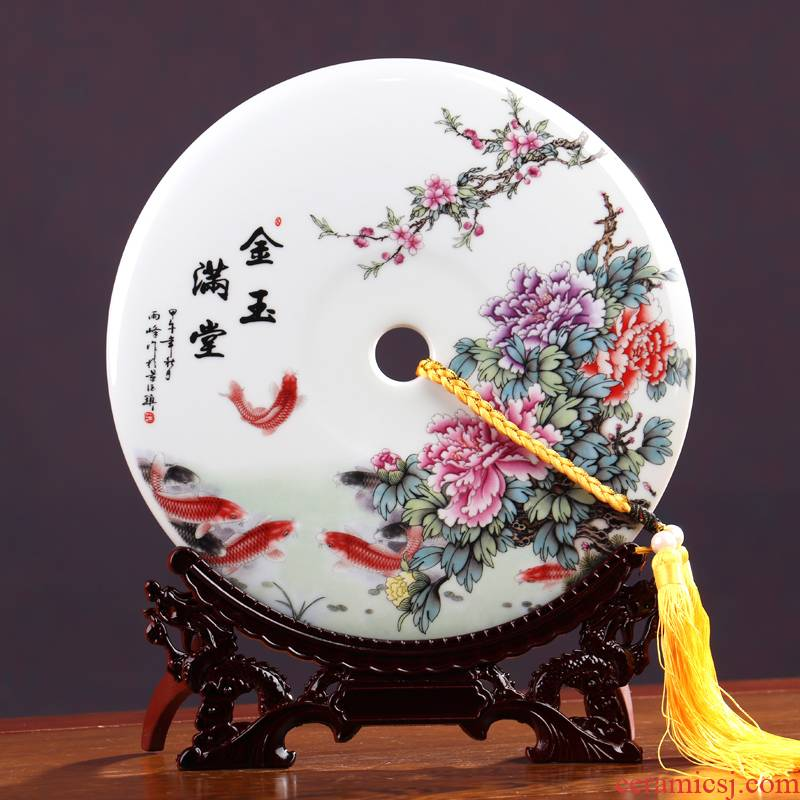 Wish peace buckle, furnishing articles jingdezhen ceramics new sitting room of Chinese style household wine cabinet office decoration