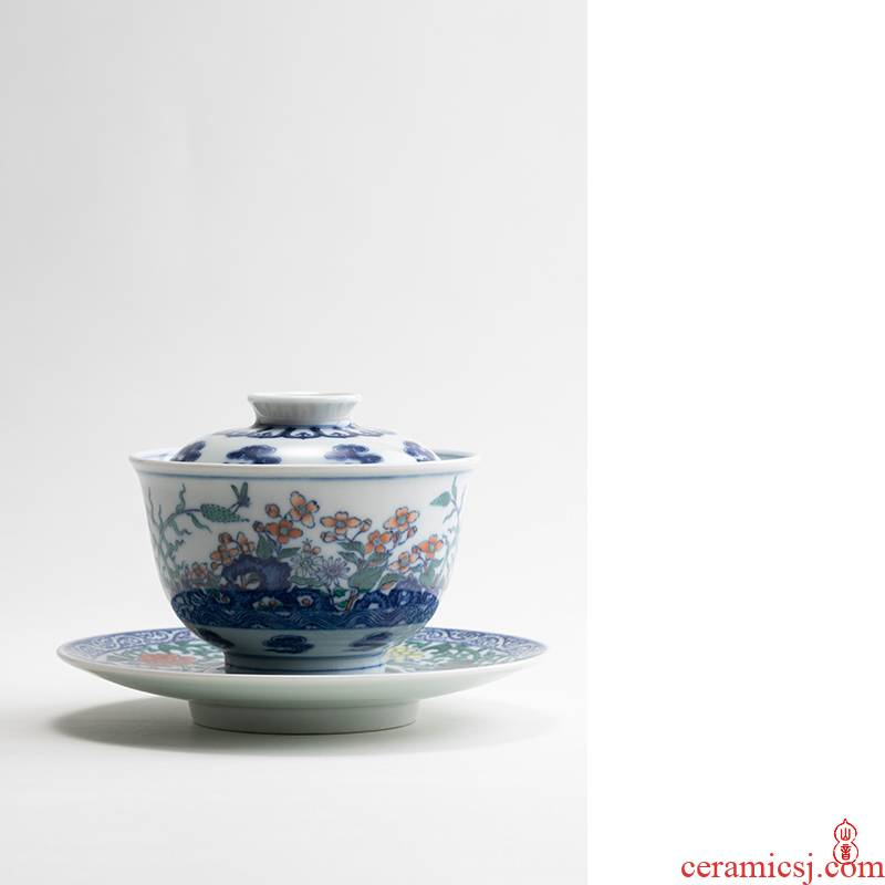 Qin Qiuyan bucket color water garden tureen jingdezhen checking ceramic only three tureen tea bowl bowl of tea set