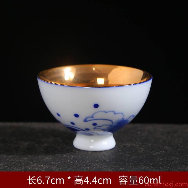 Gold hand - made teacup suit kung fu tea set of blue and white porcelain household ceramics single cup sample tea cup small bowl master CPU