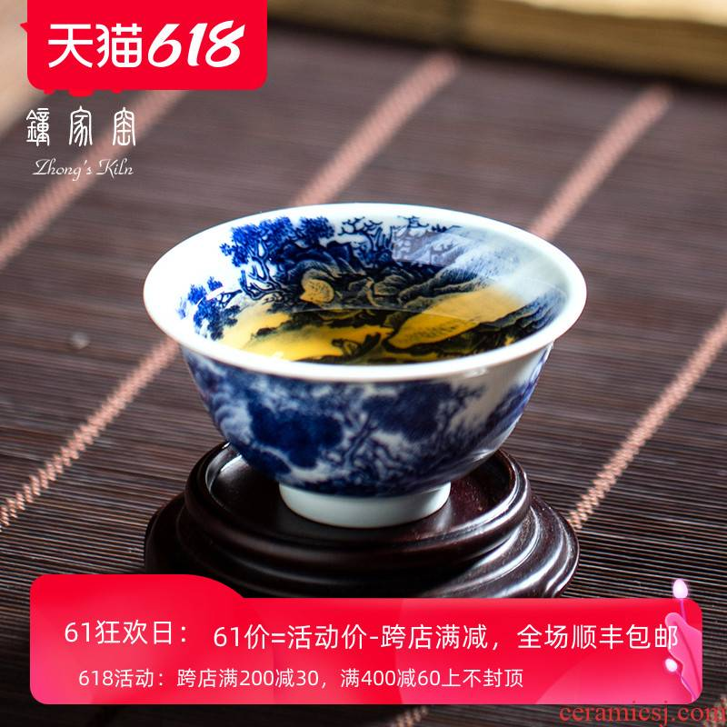 Clock home up master cup of jingdezhen porcelain cups maintain heavy full made inside and outside landscape small kung fu tea cups
