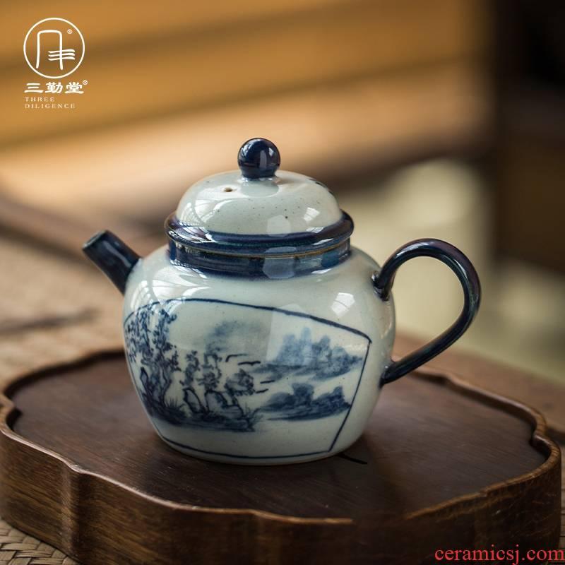 The three regular clay pot of profiteering household single pot of jingdezhen ceramic teapot tea teapot S22014