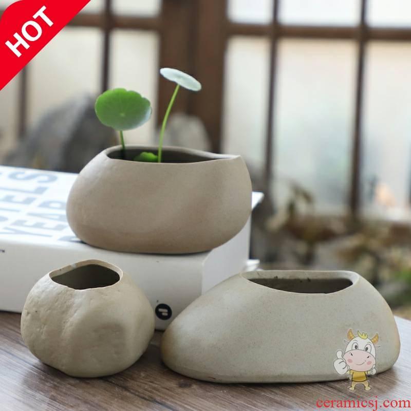 Office desktop money plant asparagus calamus no hole, hydroponic flower implement small container art ceramic flower pot to the plants