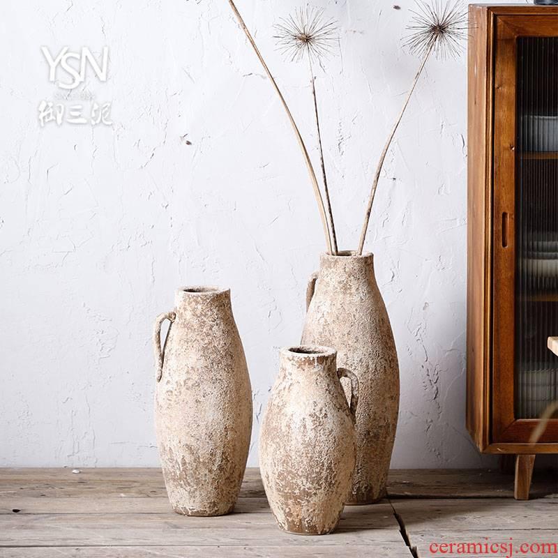 Royal three mud flower arranging furnishing articles wabi-sabi rural home decorative vase coarse pottery flower implement northern wind restoring ancient ways POTS dry flower