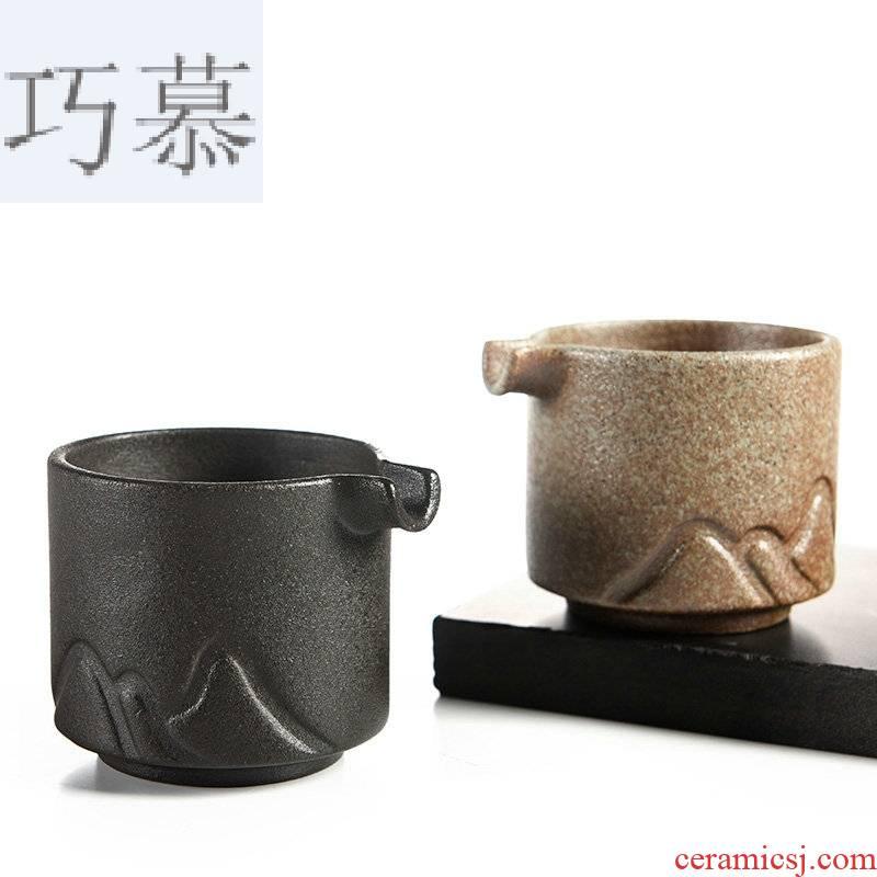 Qiao mu zen wind black stone fair glaze cup points of black tea is a Japanese kung fu tea set and a cup of tea is tea sea