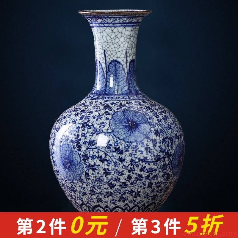 Jingdezhen blue and white porcelain up chinaware archaize vase Chinese style household act the role ofing is tasted sitting room adornment is placed large