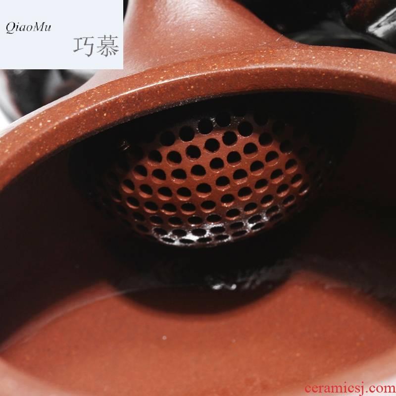 Qiao mu HM it yixing all hand undressed ore purple clay teapot bian xi shi sand pot of dragon 's blood drawing edition teapot
