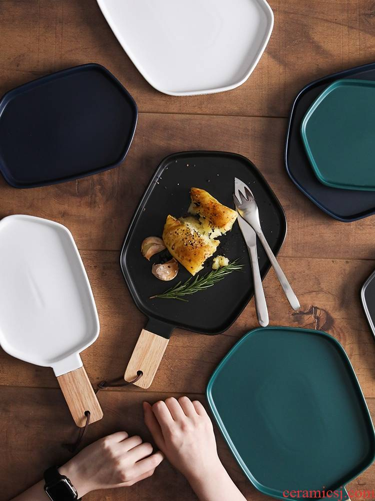 Qiao mu LH household Nordic matte enrolled creative flat wooden plate, plate beefsteak ceramic plate, black square plate