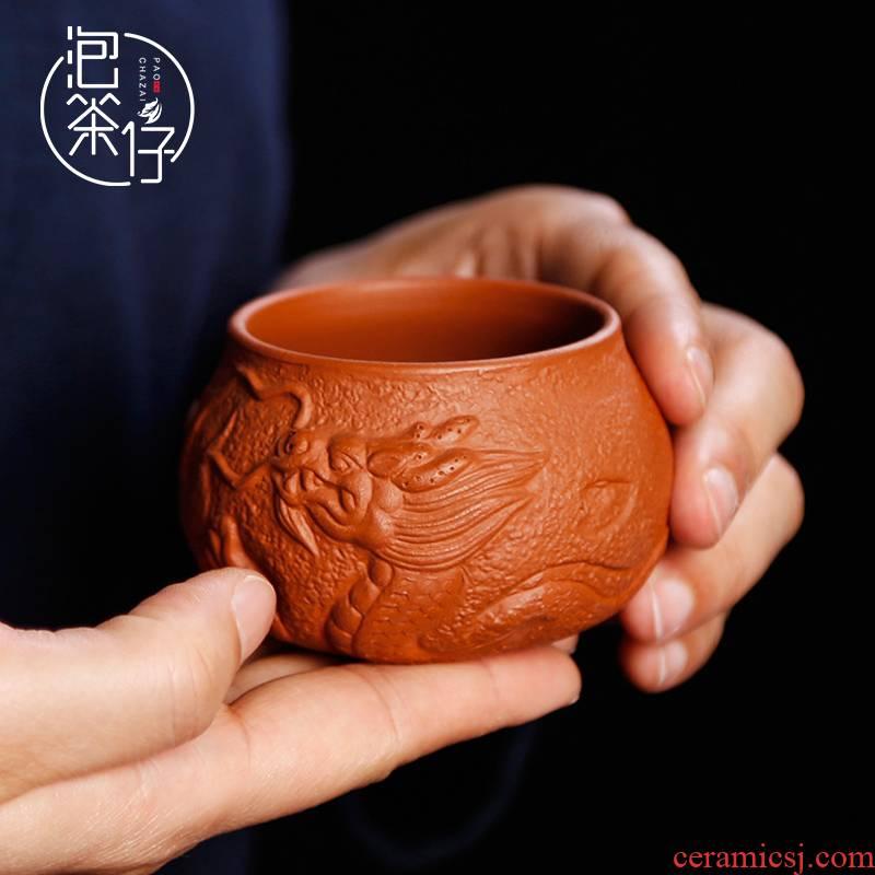 Yixing purple sand checking purple clay teapot noggin ceramic sample tea cup large single kung fu tea master CPU