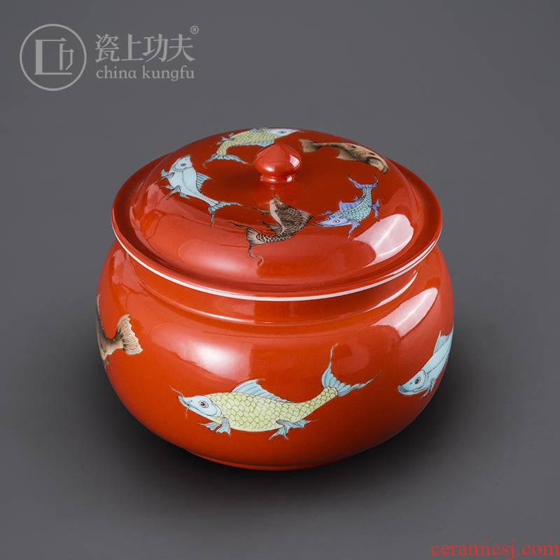 Jingdezhen tea tea cake tin, tin trumpet ceramic POTS of household puer tea storage tanks seal tea urn tea bucket