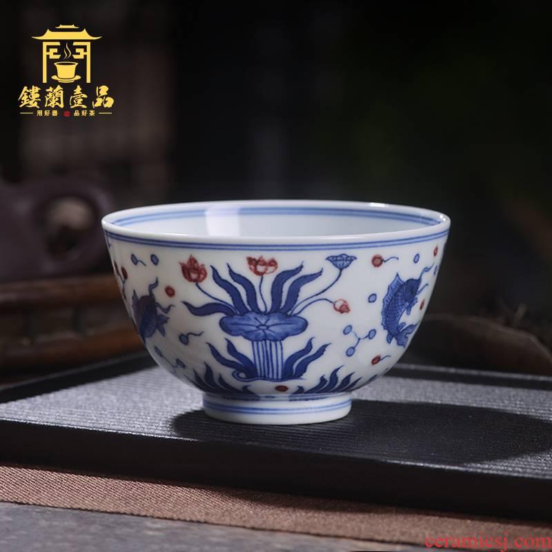 Jingdezhen ceramic all hand - made maintain green Hualien left algal grain master cup kung fu tea tea cup single CPU
