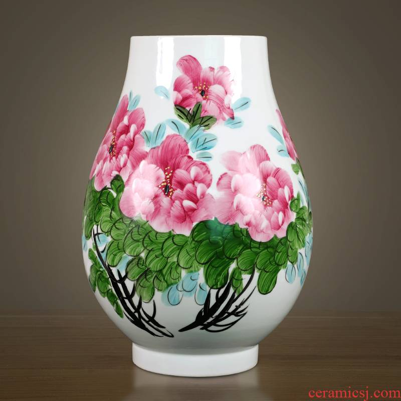 Jingdezhen ceramic hand - made famille rose blooming flowers vase household flower arranging Chinese style porch sitting room decoration