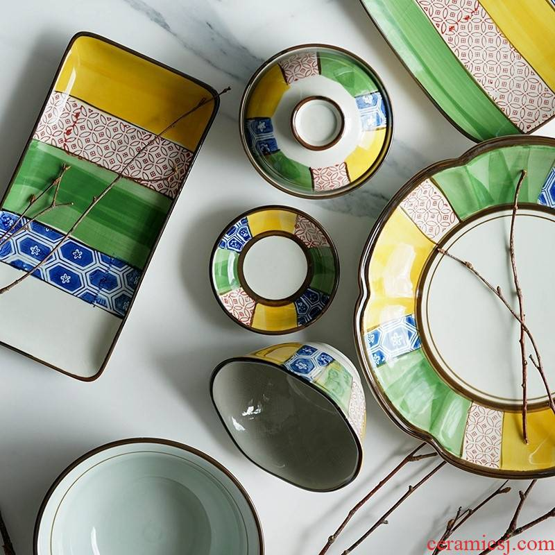 Qiao mu LH Japanese and wind under the traditional pattern ceramic tableware glaze color always rainbow such as bowl dish dish dish flavor dishes